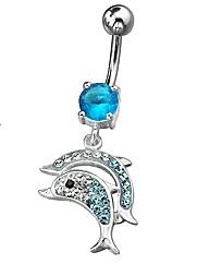 Crystal Blue Dolphin Body Bar