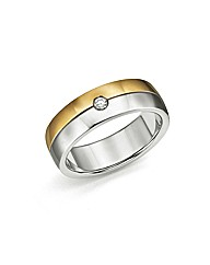 Titanium & Gold-Plated CZ Ring