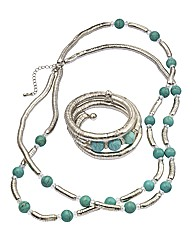 Slinky Beaded Necklace and Coil Bracelet