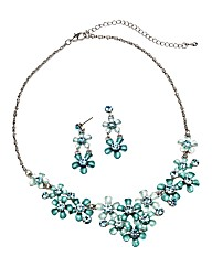 Glitzy Flower Necklace and Earring Set