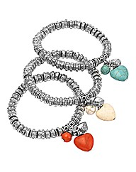 Set of 3 Stone Heart Stretch Bracelets
