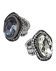 Set of 2 Glitzy Stretch Rings