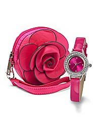 Ladies Glitzy Watch and Flower Purse Set