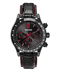 Versus Gents Black Leather Strap Watch