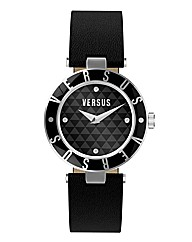 Versus Ladies Black Leather Strap Watch