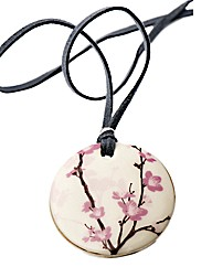 Kaolin Pink Flower Disc Pendant