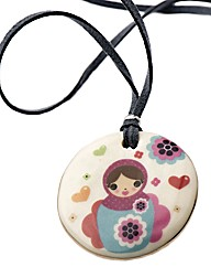 Kaolin Russian Doll Round Disc Pendant