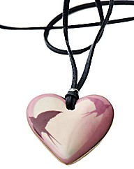 Kaolin Swallow Design Heart Pendant