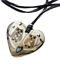 Kaolin Owl Duo Heart Disc Pendant