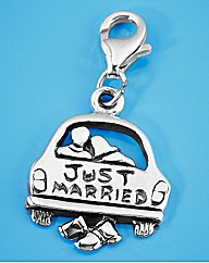 Sterling Silver Just Married Charm