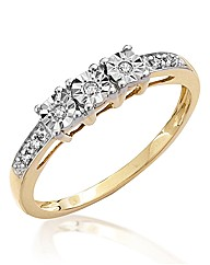 9ct Gold Three Stone Diamond Ring