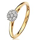 9ct Gold 15 Point Diamond Cluster Ring