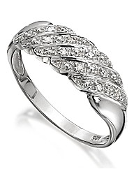 Sterling Silver Diamond-Set Band Ring