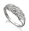 Sterling Silver Diamond-Set Band Ring