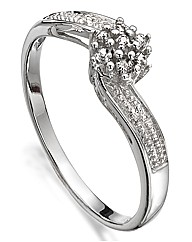 Sterling Silver Diamond-Set Twist Ring