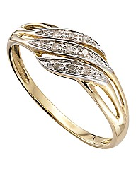 9 Carat Yellow Gold Diamond Set Ring