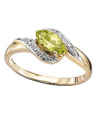 9ct Yellow Gold, Diamond & Peridot Ring