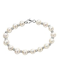 Textured Beads and Pearl Bracelet