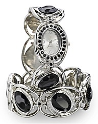 Glitzy Black Stone Watch & Bangle Set