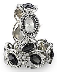 Glitzy Black Stone Watch & Bangle Set