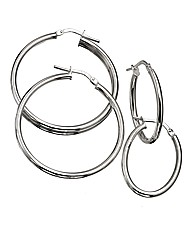 Silver Set of Two Plain Hoop Earrings
