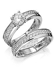 Diamonfire Sterling Silver Ring Set