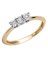 9ct Gold Three-Stone Illusion-Set Ring