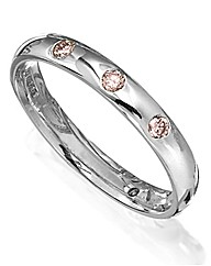 9ct White Gold Pink Diamond Ring