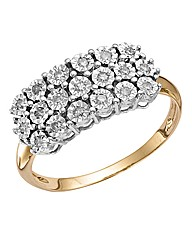 9 Carat Gold Illusion 1/4ct Diamond Ring