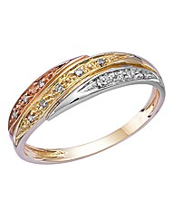 9ct Gold Diamond Three-Colour Ring