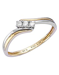 9ct Gold Diamond-Set Two-Tone Ring