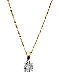9ct Gold Diamond Square Cluster Pendant