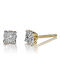 9ct Gold Diamond Square Cluster Earrings