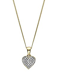 9ct Gold Diamond-Set Heart Pendant