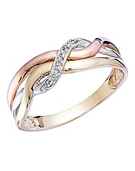 9ct Gold Three-Colour Diamond Ring