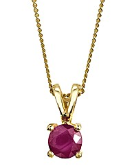 9ct Gold Gemstone Solitaire Pendant