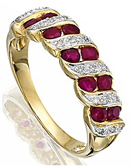 9ct Gold Ruby and Diamond-Set Ring