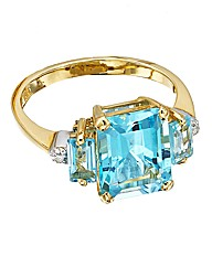 9ct Gold Blue Topaz 3 Stone Ring