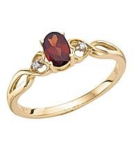 9ct Gold Gemstone and Diamond-Set Ring