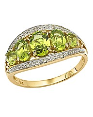 9ct Gold Peridot & Diamond-Set Ring