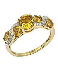 9ct Gold Citrine & Diamond-Set Ring