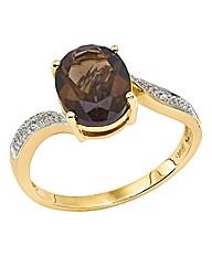 9 Carat Gold Smoky Quartz & Diamond Ring
