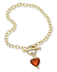 9ct Gold Amber Heart T-Bar Bracelet