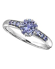 9ct White Gold Tanzanite Cluster Ring