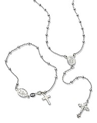 Silver Rosary Necklace & Bracelet Set