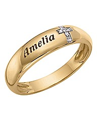 9ct Gold Gents Diamond Cross Ring