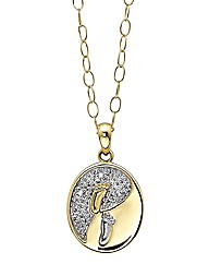 9 Carat Gold Diamond Footprints Pendant