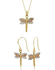 9ct Gold Dragonfly Pendant & Earring Set