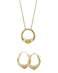 9ct Gold Two-Tone Pendant & Earrings Set