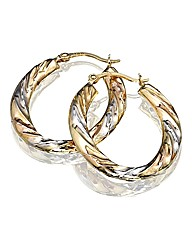 9ct Gold Three-Colour Hoop Earrings